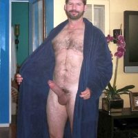 dressing gown open erection exposed