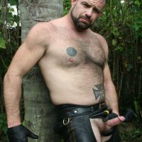 barechested bare leather daddy small cock