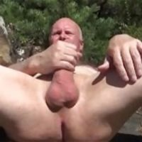 grandpa big cock wanking in woods