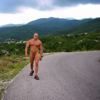 Wank Life naked man cuntry road