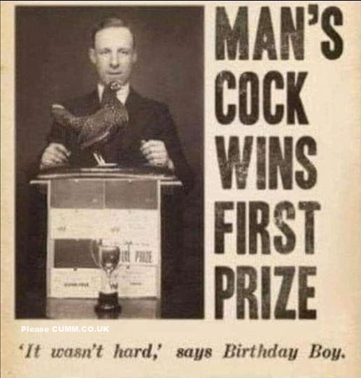 Man's Cock Wins First Prize