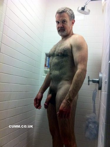 mature dad nude in shower semi erection